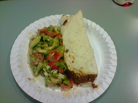 Freezable Burritos for Lunch with fresh Mexican salad